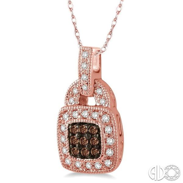 1/4 Ctw Round Cut White and Champagne Brown Diamond Pendant in 10K Rose Gold with Chain Image 2 Ross Elliott Jewelers Terre Haute, IN