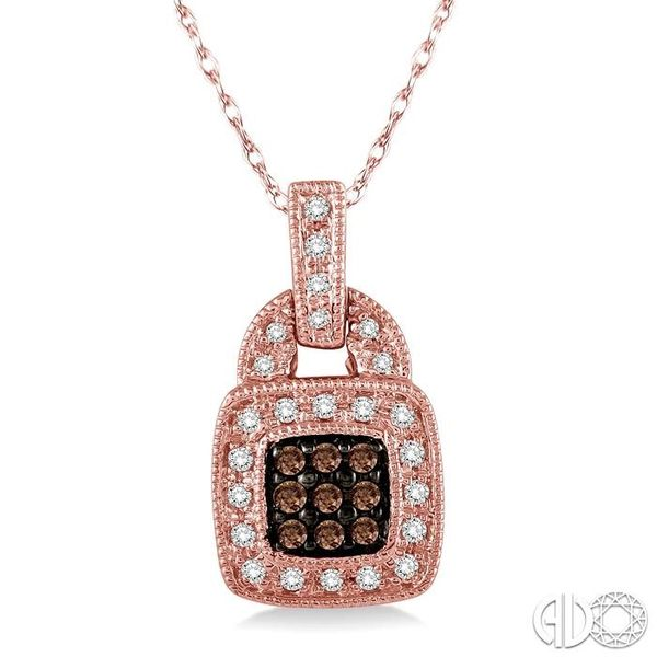1/4 Ctw Round Cut White and Champagne Brown Diamond Pendant in 10K Rose Gold with Chain Ross Elliott Jewelers Terre Haute, IN