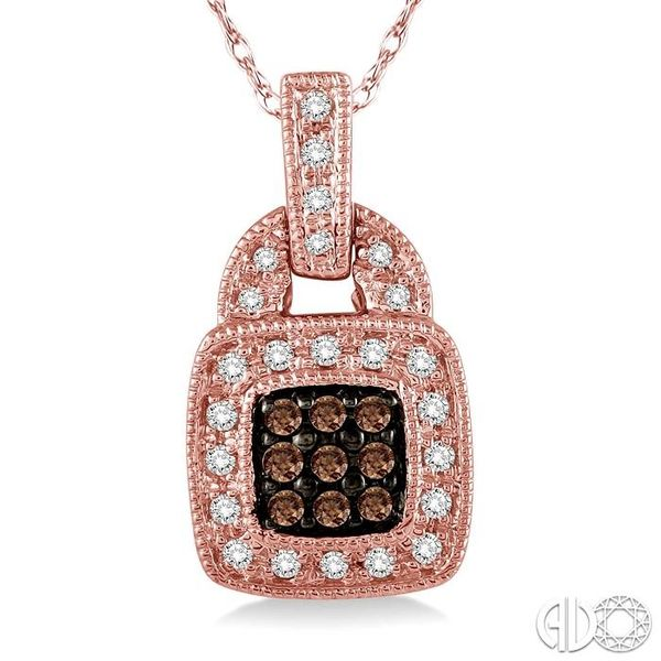 1/4 Ctw Round Cut White and Champagne Brown Diamond Pendant in 10K Rose Gold with Chain Image 3 Ross Elliott Jewelers Terre Haute, IN