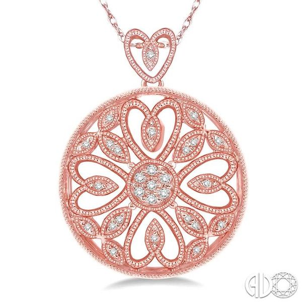1/6 Ctw Round Cut Diamond Fashion Pendant in 10K Rose Gold with Chain Image 3 Ross Elliott Jewelers Terre Haute, IN