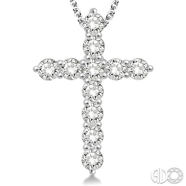 1 1/2 Ctw Round Cut Diamond Cross Pendant in 14K White Gold with Chain Image 3 Ross Elliott Jewelers Terre Haute, IN