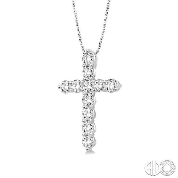 1/4 Ctw Round Cut Diamond Cross Pendant in 14K White Gold with Chain Image 2 Ross Elliott Jewelers Terre Haute, IN