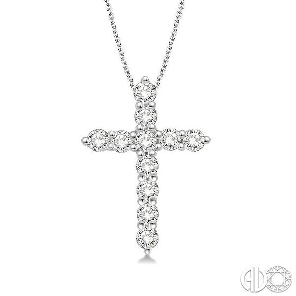 1/4 Ctw Round Cut Diamond Cross Pendant in 14K White Gold with Chain Ross Elliott Jewelers Terre Haute, IN