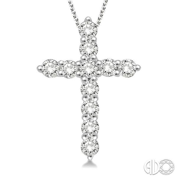 1/4 Ctw Round Cut Diamond Cross Pendant in 14K White Gold with Chain Image 3 Ross Elliott Jewelers Terre Haute, IN