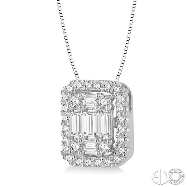 1/2 Ctw Octagonal Baguette & Round Cut Diamond Pendant With Box Chain in 14K White Gold Image 2 Ross Elliott Jewelers Terre Haute, IN