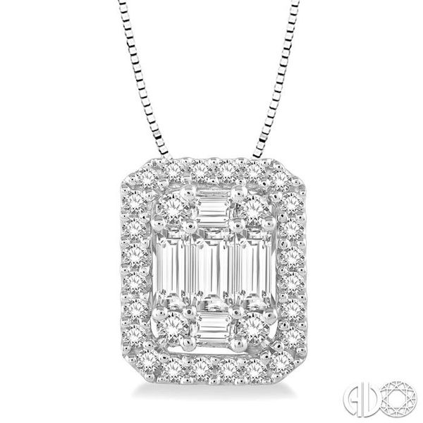 1/2 Ctw Octagonal Baguette & Round Cut Diamond Pendant With Box Chain in 14K White Gold Ross Elliott Jewelers Terre Haute, IN