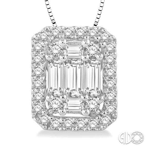 1/2 Ctw Octagonal Baguette & Round Cut Diamond Pendant With Box Chain in 14K White Gold Image 3 Ross Elliott Jewelers Terre Haute, IN
