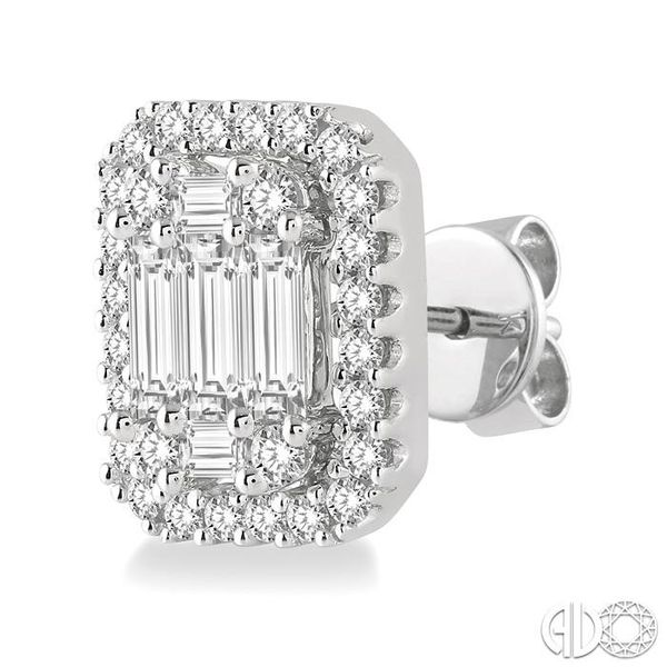 3/8 Ctw Octagonal Baguette & Round Cut Diamond Stud Earrings in 14K White Gold Image 3 Ross Elliott Jewelers Terre Haute, IN