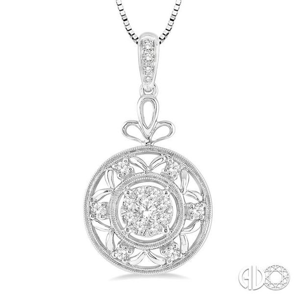 1/2 Ctw Round Cut Diamond Lovebright Pendant in 14K White Gold with Chain Image 3 Ross Elliott Jewelers Terre Haute, IN