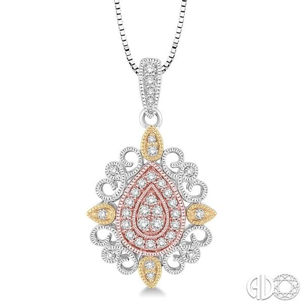 1/4 Ctw Pear Shape Round Cut Diamond Pendant in 14K Tri Color Gold with Chain Ross Elliott Jewelers Terre Haute, IN