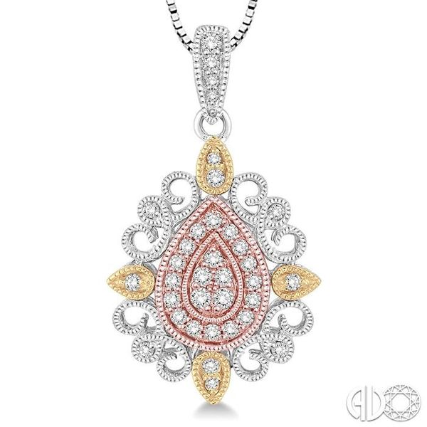 1/4 Ctw Pear Shape Round Cut Diamond Pendant in 14K Tri Color Gold with Chain Image 3 Ross Elliott Jewelers Terre Haute, IN
