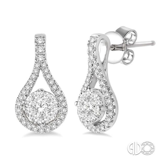 1/2 Ctw Lovebright Round Cut Diamond Earrings in 14K White Gold Ross Elliott Jewelers Terre Haute, IN