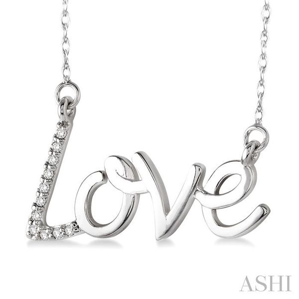 1/20 Ctw Single Cut Diamond Love Pendant in 14K White Gold with Chain Image 2 Ross Elliott Jewelers Terre Haute, IN