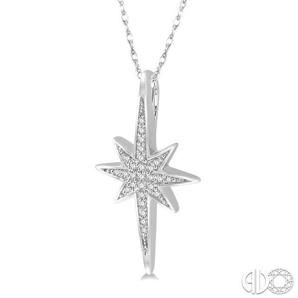 1/10 Ctw Star Charm Round Cut Diamond Pendant With Link Chain in 10K White Gold Image 2 Ross Elliott Jewelers Terre Haute, IN