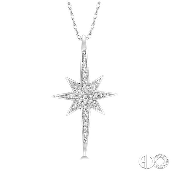 1/10 Ctw Star Charm Round Cut Diamond Pendant With Link Chain in 10K White Gold Ross Elliott Jewelers Terre Haute, IN