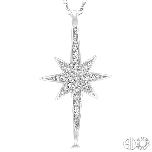 1/10 Ctw Star Charm Round Cut Diamond Pendant With Link Chain in 10K White Gold Image 3 Ross Elliott Jewelers Terre Haute, IN