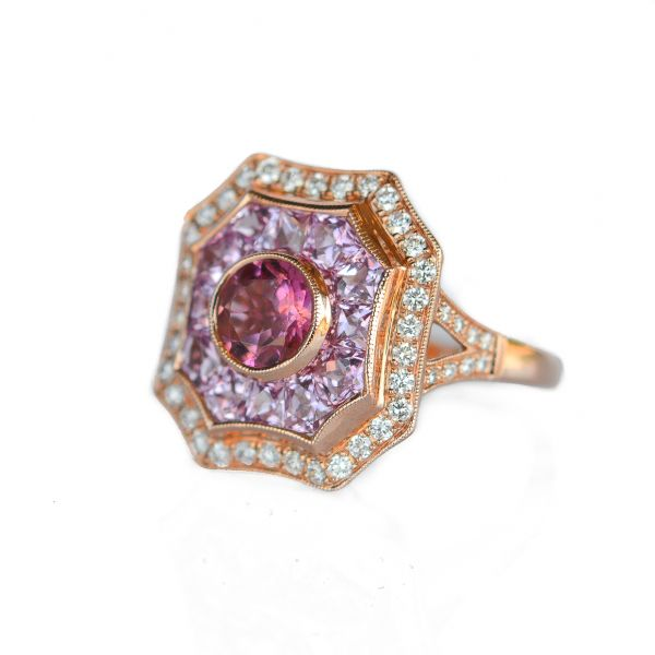 Diamond, Pink Sapphire and Pink Tourmaline Ring Score's Jewelers Anderson, SC