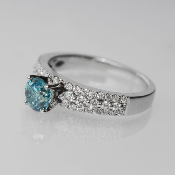 Blue and White Diamond Engagement RIng Image 2 Score's Jewelers Anderson, SC