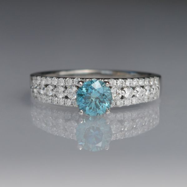 Blue and White Diamond Engagement RIng Score's Jewelers Anderson, SC