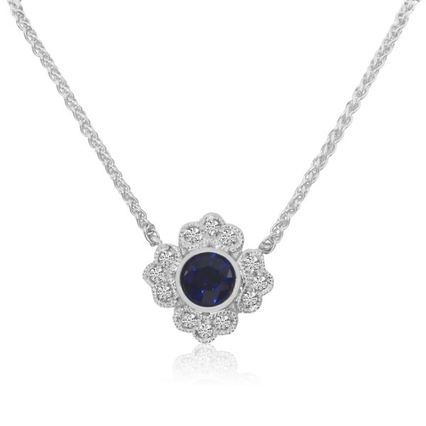 Sapphire and Diamond Pendant Score's Jewelers Anderson, SC