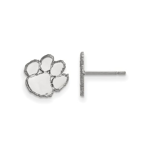 Sterling Silver Rhodium Plated Clemson University XS Post Earrings Score's Jewelers Anderson, SC