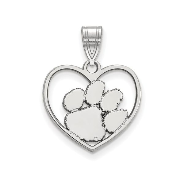 Sterling Silver Rhodium-Plated Clemson University Pendant In Heart Score's Jewelers Anderson, SC