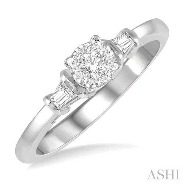 1/5 ctw Round Cut & Baguette Diamond Lovebright Engagement Ring in 14K White Gold Seita Jewelers Tarentum, PA