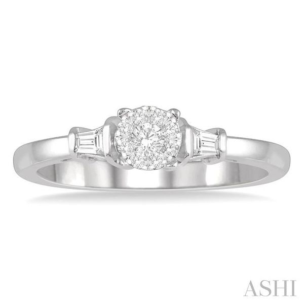 1/5 ctw Round Cut & Baguette Diamond Lovebright Engagement Ring in 14K White Gold Image 2 Seita Jewelers Tarentum, PA