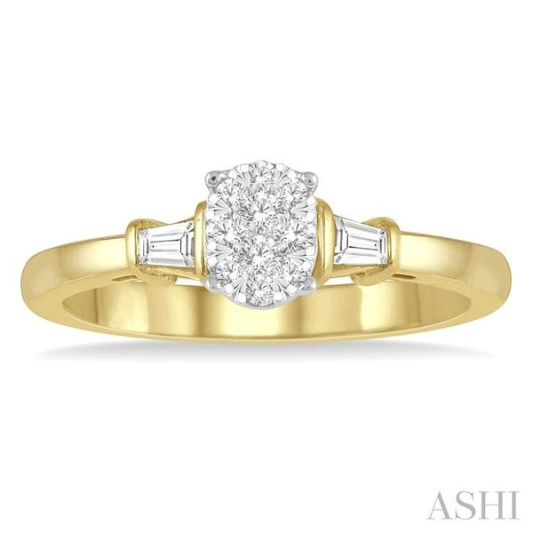 1/5 ctw Oval Shape Round Cut & Baguette Diamond Lovebright Engagement Ring in 14K Yellow and White Gold Image 2 Seita Jewelers Tarentum, PA