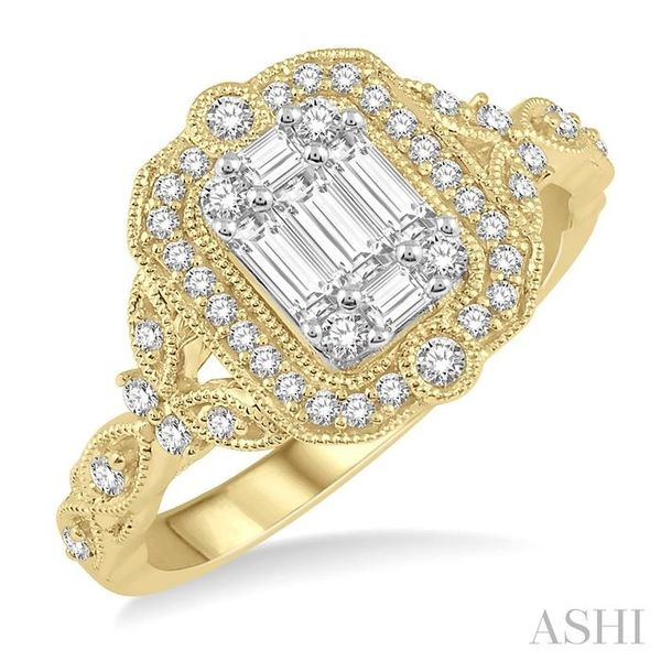 1/2 ct Intricate Cutwork Round Cut and Baguette Diamond Ring in 14K Yellow and white gold Seita Jewelers Tarentum, PA