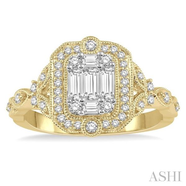 1/2 ct Intricate Cutwork Round Cut and Baguette Diamond Ring in 14K Yellow and white gold Image 2 Seita Jewelers Tarentum, PA