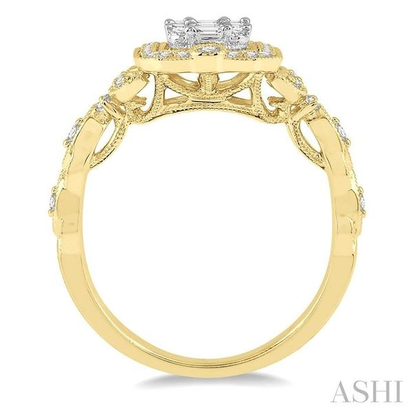 1/2 ct Intricate Cutwork Round Cut and Baguette Diamond Ring in 14K Yellow and white gold Image 3 Seita Jewelers Tarentum, PA