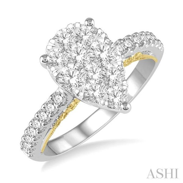1 1/2 Ctw Pear Shape Round Cut Diamond Lovebright Ring in 14K White and Yellow Gold Seita Jewelers Tarentum, PA