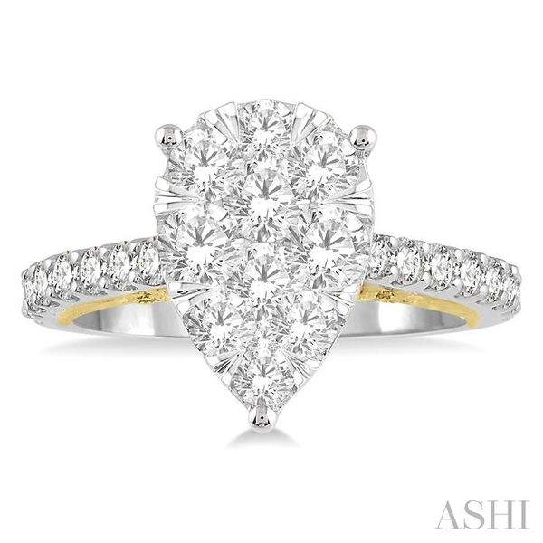 1 1/2 Ctw Pear Shape Round Cut Diamond Lovebright Ring in 14K White and Yellow Gold Image 2 Seita Jewelers Tarentum, PA