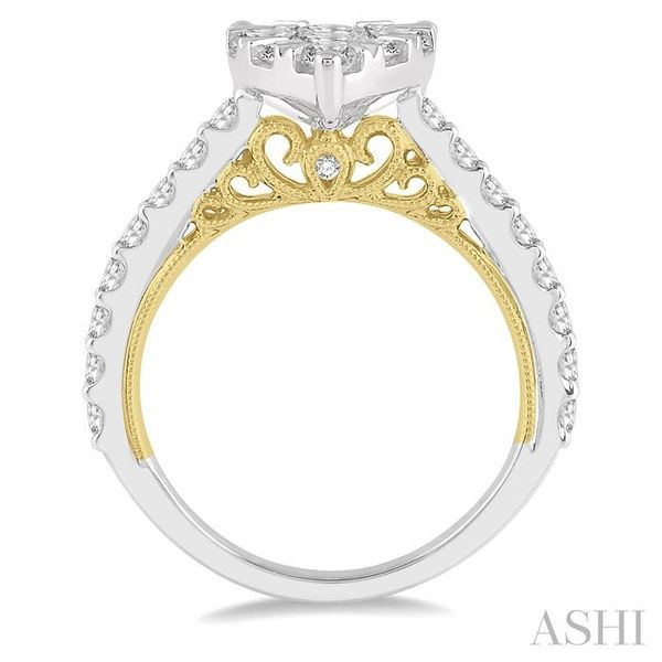1 1/2 Ctw Pear Shape Round Cut Diamond Lovebright Ring in 14K White and Yellow Gold Image 3 Seita Jewelers Tarentum, PA
