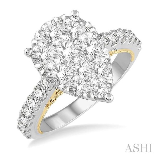 2 Ctw Pear Shape Round Cut Diamond Lovebright Ring in 14K White and Yellow Gold Seita Jewelers Tarentum, PA