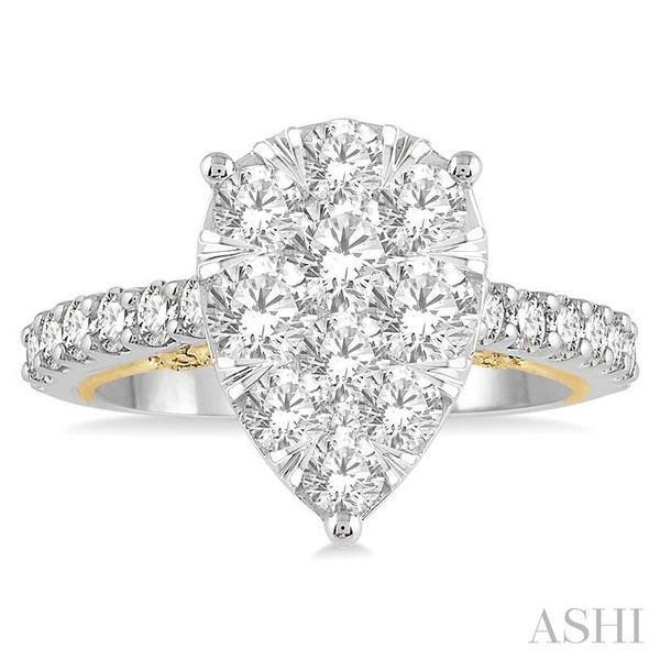 2 Ctw Pear Shape Round Cut Diamond Lovebright Ring in 14K White and Yellow Gold Image 2 Seita Jewelers Tarentum, PA