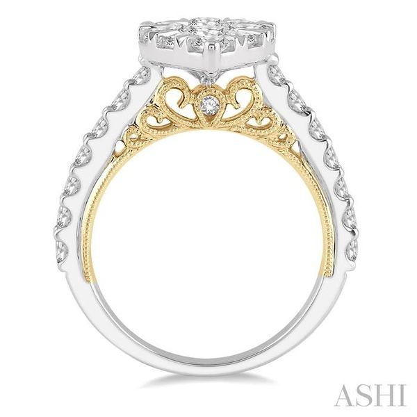 2 Ctw Pear Shape Round Cut Diamond Lovebright Ring in 14K White and Yellow Gold Image 3 Seita Jewelers Tarentum, PA