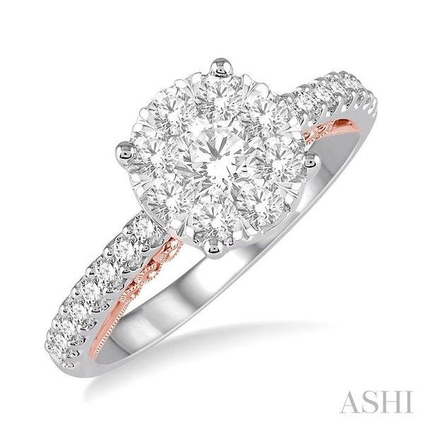 1 Ctw Round Diamond Lovebright Vintage Solitaire Style Engagement Ring in 14K White and Rose Gold Seita Jewelers Tarentum, PA