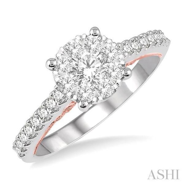 3/4 Ctw Round Diamond Lovebright Vintage Solitaire Style Engagement Ring in 14K White and Rose Gold Seita Jewelers Tarentum, PA