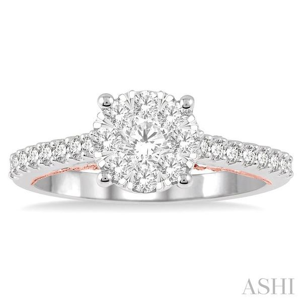 3/4 Ctw Round Diamond Lovebright Vintage Solitaire Style Engagement Ring in 14K White and Rose Gold Image 2 Seita Jewelers Tarentum, PA