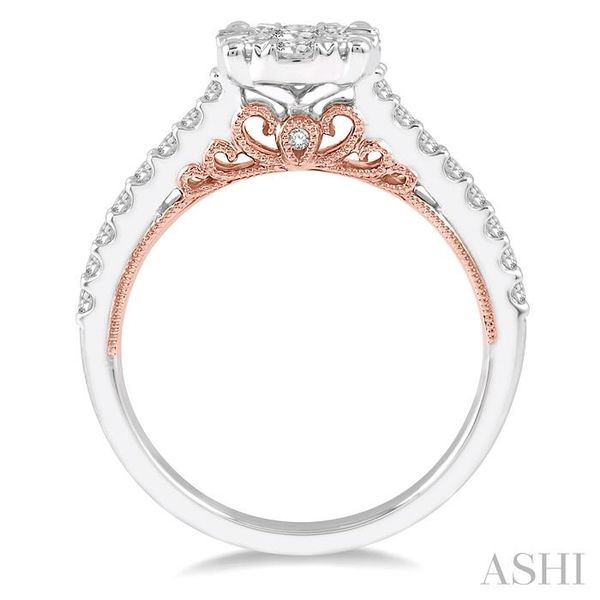 3/4 Ctw Round Diamond Lovebright Vintage Solitaire Style Engagement Ring in 14K White and Rose Gold Image 3 Seita Jewelers Tarentum, PA