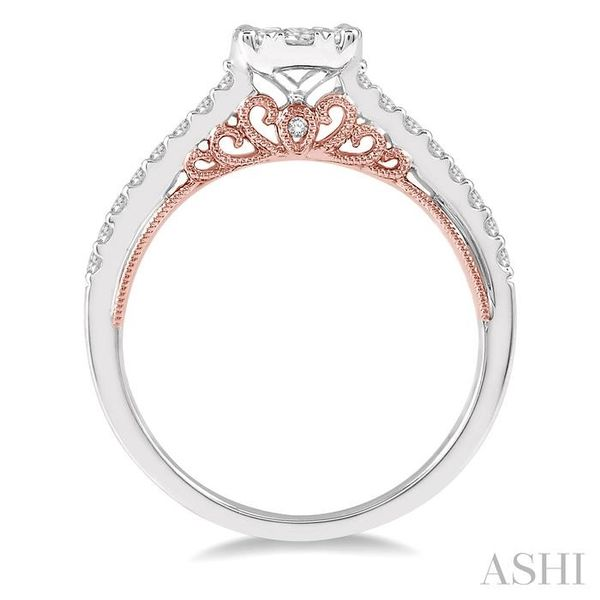1/2 Ctw Round Diamond Lovebright Vintage Solitaire Style Engagement Ring in 14K White and Rose Gold Image 3 Seita Jewelers Tarentum, PA