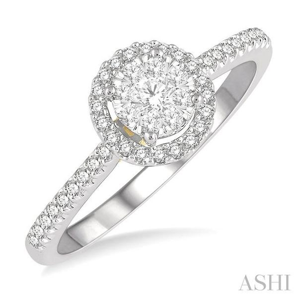 1/3 Ctw Round Diamond Lovebright Halo Engagement Ring in 14K White and Yellow Gold Seita Jewelers Tarentum, PA