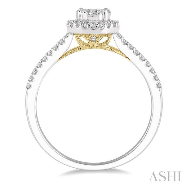 1/3 Ctw Round Diamond Lovebright Halo Engagement Ring in 14K White and Yellow Gold Image 3 Seita Jewelers Tarentum, PA