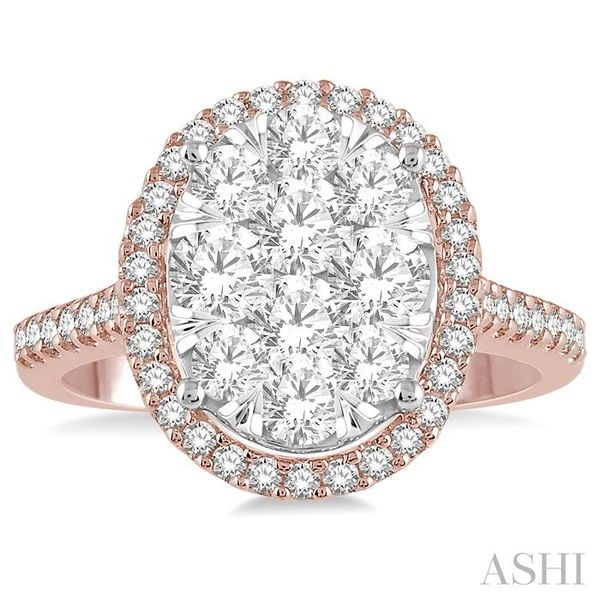 1 1/2 Ctw Round Diamond Lovebright Halo Engagement Ring in 14K Rose and White Gold Image 2 Seita Jewelers Tarentum, PA