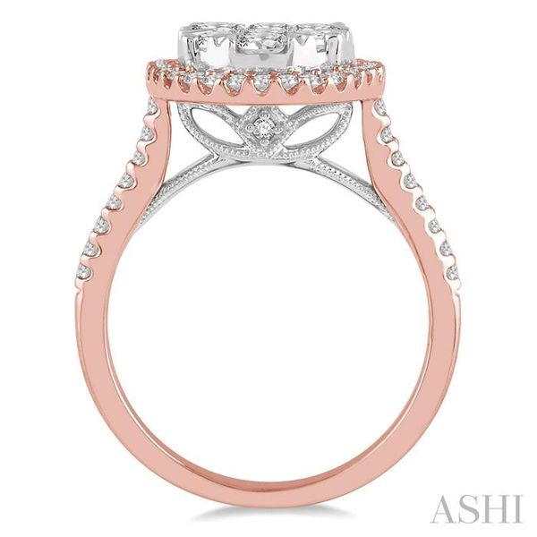 1 1/2 Ctw Round Diamond Lovebright Halo Engagement Ring in 14K Rose and White Gold Image 3 Seita Jewelers Tarentum, PA