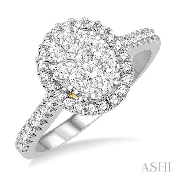 3/4 Ctw Round Diamond Lovebright Oval Shape Halo Engagement Ring in 14K White and Yellow Gold Seita Jewelers Tarentum, PA