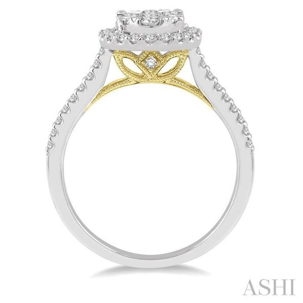 3/4 Ctw Round Diamond Lovebright Oval Shape Halo Engagement Ring in 14K White and Yellow Gold Image 3 Seita Jewelers Tarentum, PA