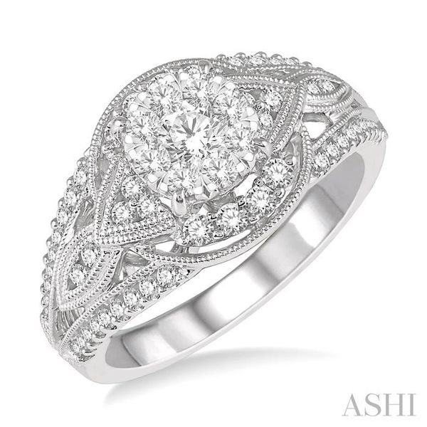 7/8 Ctw Round Diamond Lovebright Engagement Ring in 14K White Gold Seita Jewelers Tarentum, PA